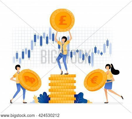 Vector Design Of Invest In Stocks And Currencies. Pile Of Coins With Stock Price Fluctuation. Good I