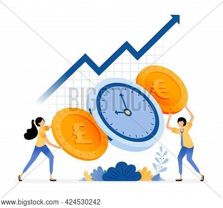 Vector Design Of Time Is Money. Increase Investment Value. People Holding Coins. Save Time On Financ