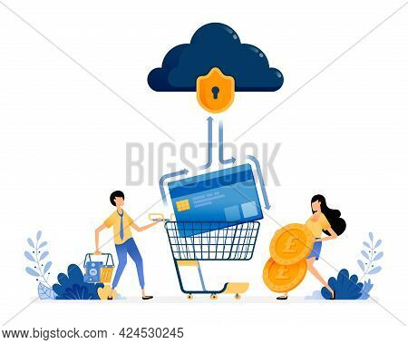 Vector Design Of Credit Card Banking Security. People Holding Coins And Shopping Baskets. Financial