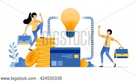 Vector Design Of Ideas For Managing Finances. Financial Sector System For Debt, Loans, Credit Cards,