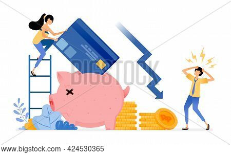 Vector Design Of Debt And Loans. Decrease In Savings Assets On Credit Card Late Payments. Economic C