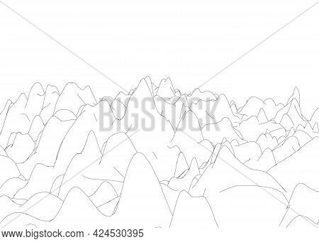 Contour Of Rocky Mountains On A White Background. Vector Illustration