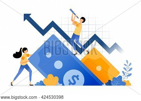 Vector Design Of Increase In Financial Investment. Positive Feedback On Secondary Money Market. Fold