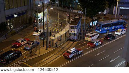 Causeway Bay, Hong Kong 30 March 2021: Top down view of the traffic in Hong Kong