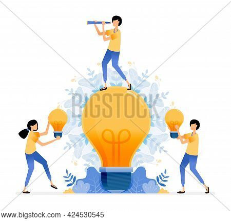 Vector Design Of Find And Explore Ideas. Man Standing On Light Bulb. People Holding Light Bulb. Enli