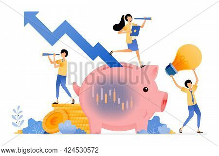 Vector Design Of Awareness Of Stock Saving Investment. Piggy Bank With Candlestick And Rising Arrow.