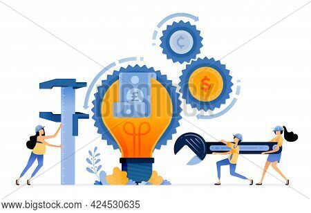 Vector Design Of Improve Financial Services. Innovation Ideas In Banking Technology. Money Comes Out