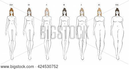 Row Of Womens Of Different Clothes Size. Vector Sketch Of Walking Girls