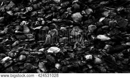 Black Stone Texture. Top View Of Rock. Nature Background. 3D Rendering.