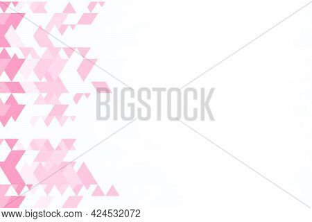 Polygonal Pink Mosaic Background. Abstract Low Poly Vector Illustration. Triangular Pattern, Copy Sp