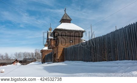 Ancient Wooden Architecture. On The Perimeter Of The City Wall There Is A Watchtower And A Chapel Ma