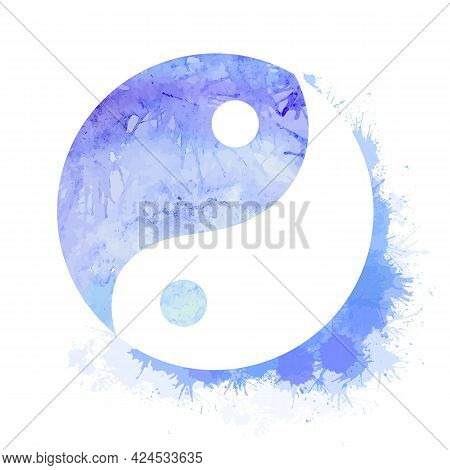 Yin Yang Blue Watercolor Symbol With Splashes And Dots. Buddhism Symbol Of Balance And Peace. Vector