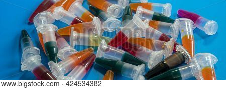 PCR micro-tubes PCR Tubes on blue background