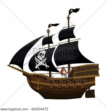 Pirate Ship Under Black Sail, Wooden Old Sailboat With Captain. Buccaneer Filibuster Corsair With Bl