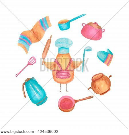 Set Of Kitchen Tools, Cooking Utensils, Kitchenware. Chicken Cook And Kitchen Utensils. Objects Are