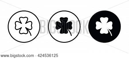 Four Leaf Clover Icon, St Patricks Day Icons Button, Vector, Sign, Symbol, Logo, Illustration, Edita