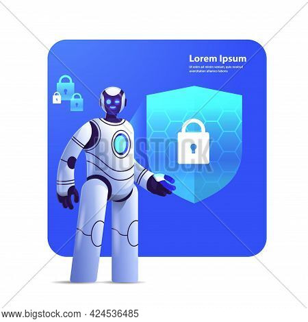 Modern Robot Cyborg With Protection Shield Cyber Security Data Protection Artificial Intelligence Te