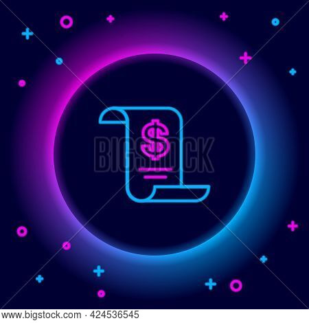 Glowing Neon Line Paper Or Financial Check Icon Isolated On Black Background. Paper Print Check, Sho