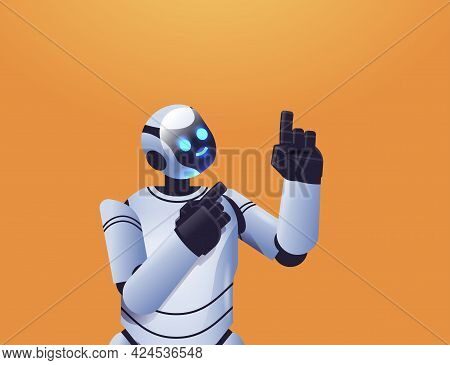 Cute Robot Cyborg Pointing At Something Modern Robotic Character Artificial Intelligence Technology