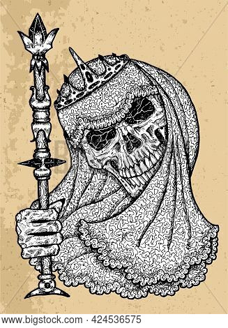 Textured Black And White Scary Illustration Of Vector Skull Holding Wand Wearing Bridal Veiling And