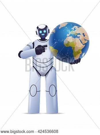 Robot Cyborg Holding Planet Earth Globe Modern Robotic Character Artificial Intelligence Technology