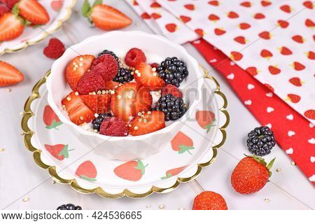 Berry Mix Yogurt Bowl With Strawberry, Raspberry And Blackberry Fruits And Puffed Quinoa