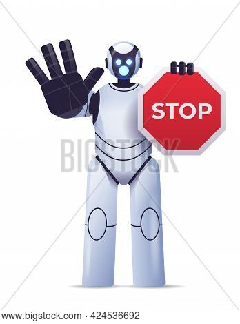 Robot Cyborg Holding Red Stop Sign Robotic Character Showing No Entry Hand Gesture Artificial Intell