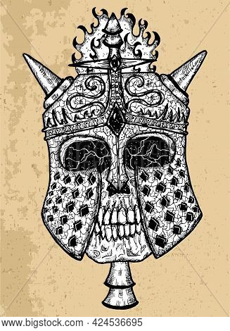 Textured Black And White Scary Illustration Of Vector Skull Wearing Knight Helm With Horns. Mystic I