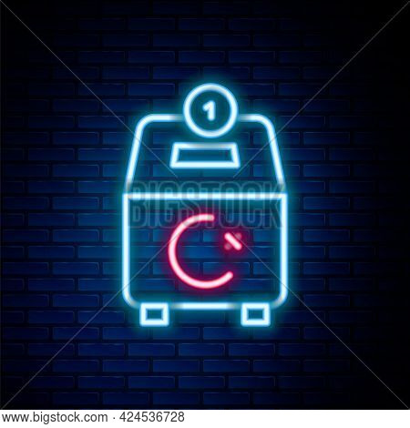 Glowing Neon Line Donate Or Pay Your Zakat As Muslim Obligatory Icon Isolated On Brick Wall Backgrou