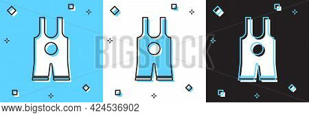 Set Wrestling Singlet Icon Isolated On Blue And White, Black Background. Wrestling Tricot. Vector