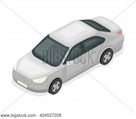 Sedan Or Saloon As Passenger Car And Urban Transport Isometric Vector Illustration