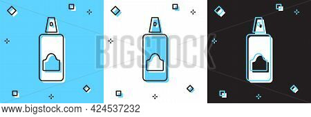 Set Spray Can For Hairspray, Deodorant, Antiperspirant Icon Isolated On Blue And White, Black Backgr