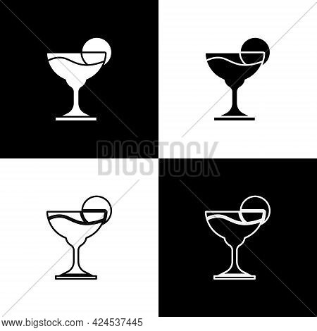 Set Margarita Cocktail Glass With Lime Icon Isolated On Black And White Background. Vector