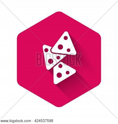White Nachos Icon Isolated With Long Shadow Background. Tortilla Chips Or Nachos Tortillas. Traditio