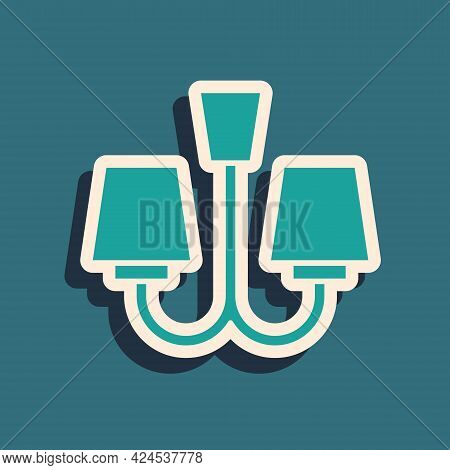 Green Chandelier Icon Isolated On Green Background. Long Shadow Style. Vector