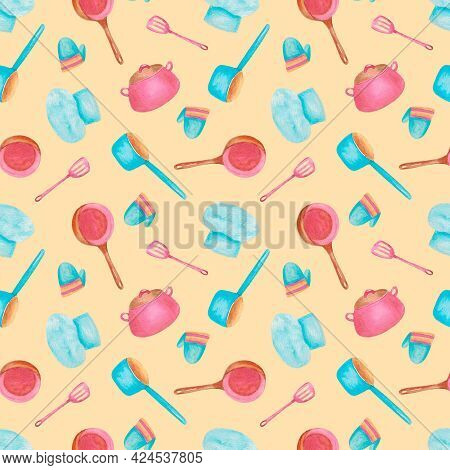A Seamless Pattern With Cooking Utensils And Kitchenware. Beige Background With Kitchen Utensils. Yo