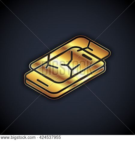 Gold Smartphone With Broken Screen Icon Isolated On Black Background. Shattered Phone Screen Icon. V