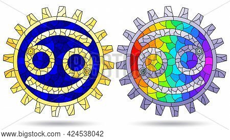 Illustration In The Style Of A Stained Glass Window With A Set Of Zodiac Signs Scorpio, Figures Isol