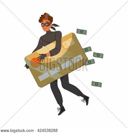 Man Cybercriminal Wearing Black Mask Holding Credit Card Committing Network And Computer Crime Harmi