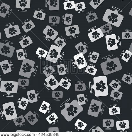 Grey Map Pointer With Veterinary Medicine Hospital, Clinic Or Pet Shop For Animals Icon Isolated Sea