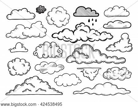 Hand Drawn Cloud Set. Doodle Sketch Style Cloud. Simple Outline Scribble Draw. Vector Illustration.