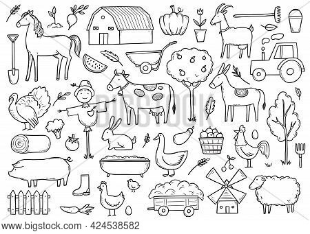 Hand Drawn Set Farm Animal, Horse, Cow, Farmer Food. Doodle Sketch Style. Agriculture Life Backgroun