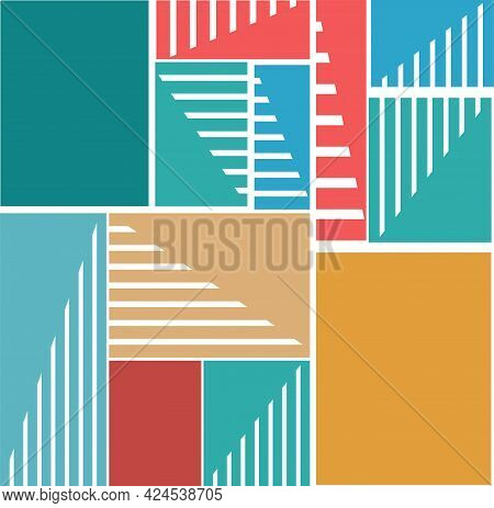 Geometric Pattern With Multicolor Stripes And Squares