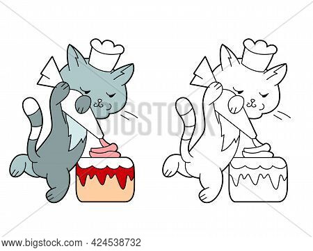 Small Cute Cat Decorating Birthday Cake With Cream. Illustration With Pretty Pet Kitten On White Bac