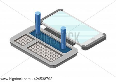 Drone Remote Controller Or Control Panel With Stick, Display And Keypad Vector Isometric Illustratio