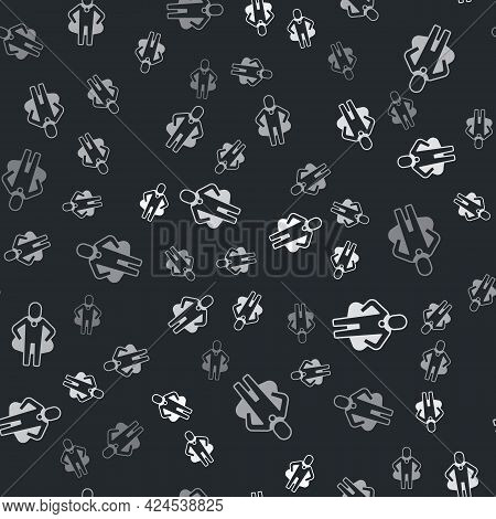 Grey Head Hunting Icon Isolated Seamless Pattern On Black Background. Business Target Or Employment