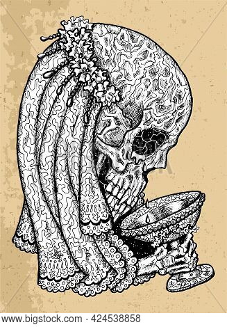 Textured Black And White Scary Illustration Of Vector Skull Wearing Bridal Veiling And Crown Holding