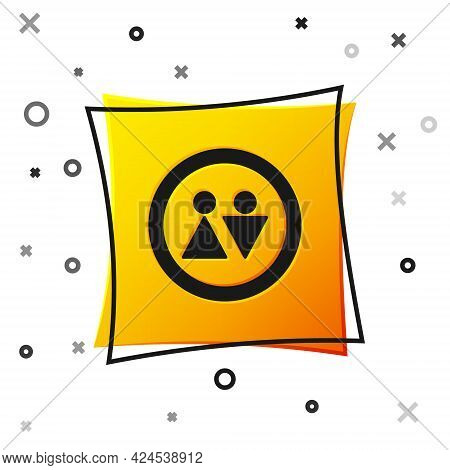 Black Toilet Icon Isolated On White Background. Wc Sign. Washroom. Yellow Square Button. Vector