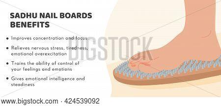 Sadhu Nails Boards Benefits Banner. Bed Of Nails. Yogic Exercise. Fire Meditation Boards. Yoga Desk.