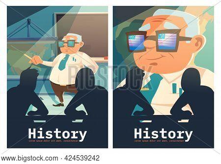 History Cartoon Posters, Senior Historian Teacher With Pointer At Blackboard Explain Lesson To Stude
